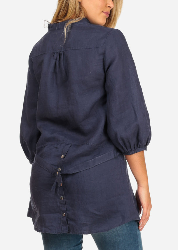 Button Up Navy Tunic
