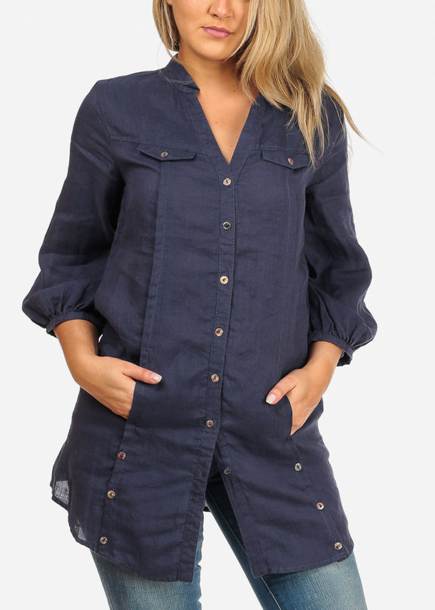Lightweight Stylish Casual 3/4 Sleeve Button Up Navy Dress