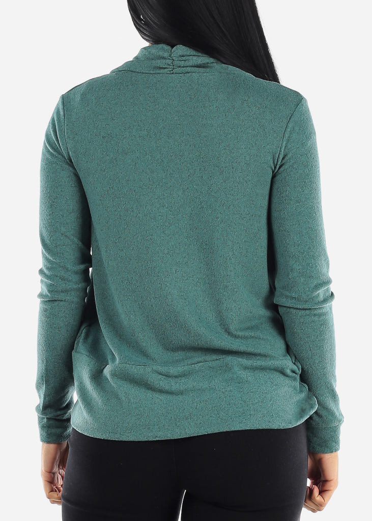Long Sleeve Open Front Green Cardigan