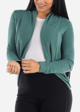 Image of Long Sleeve Open Front Green Cardigan