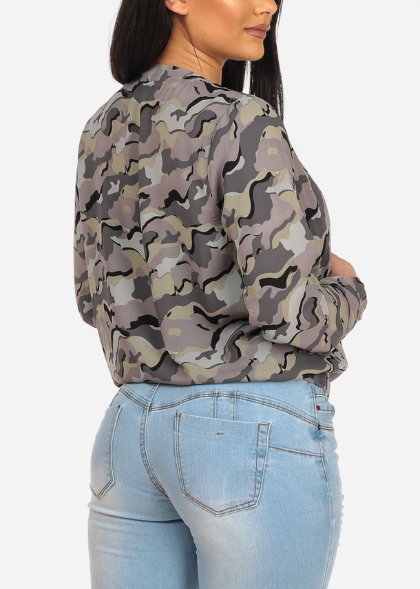 Camouflage Zip Up Long Sleeve Jacket