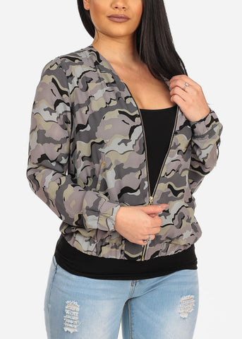 Women's Lightweight Chiffon Trendy Army Camouflage Print Zip Up Jacket