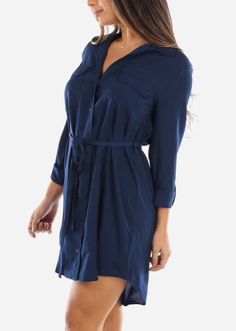 Navy Button Down Shirt Dress