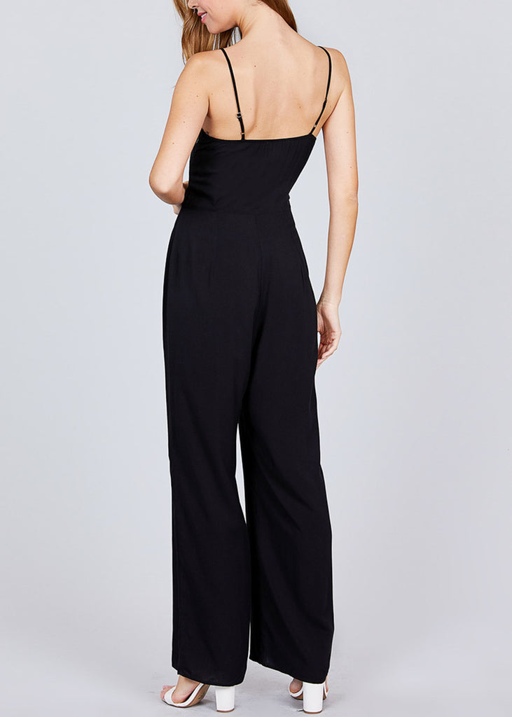 Front Knot Detail Black Jumpsuit