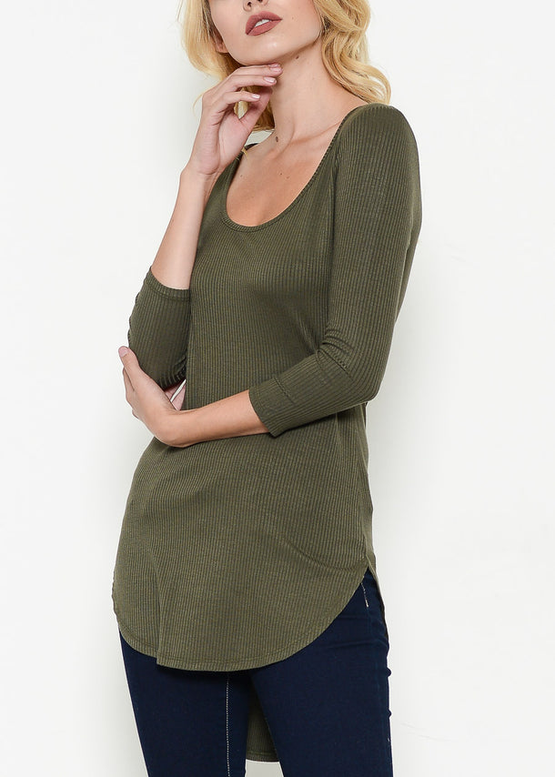 Olive Ribbed High Low Top
