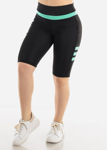 Black & Mint Biker Shorts