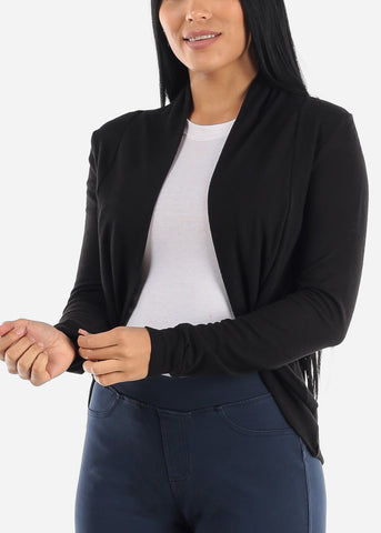 Long Sleeve Open Front Black Cardigan
