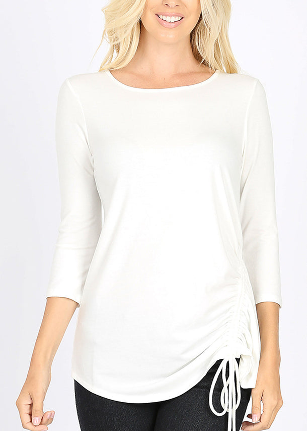 Side Ruched White Tunic Top