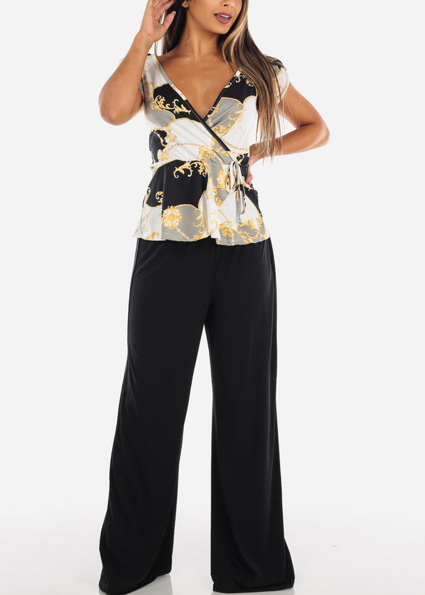 Stylish Multicolor Gold Print Top