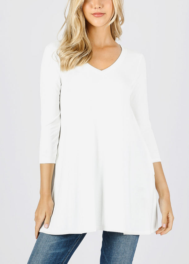 Ivory Flared Tunic Top