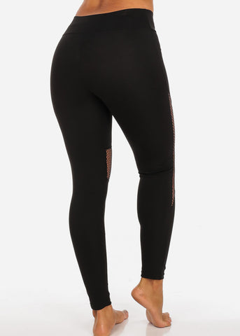 Activewear Black Fishnet Detail High Waisted Leggings