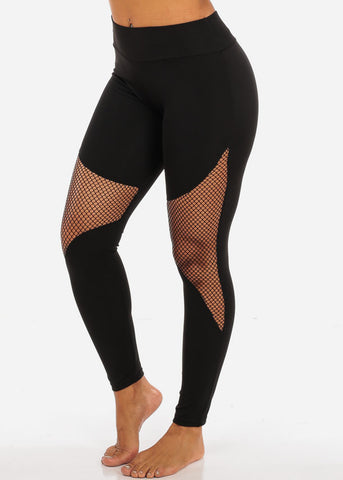 Image of Activewear Black Fishnet Detail High Waisted Leggings