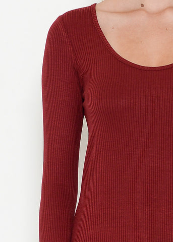 Burgundy Ribbed High Low Top