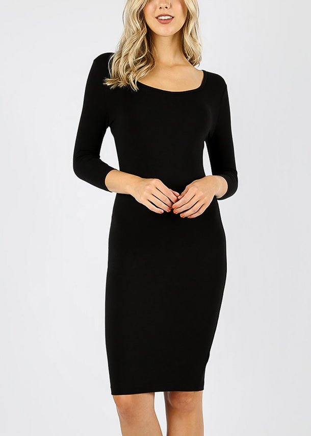 Quarter Sleeve Black Bodycon Dress
