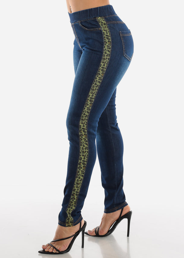 Green Animal Print Stripe Skinny Jeans