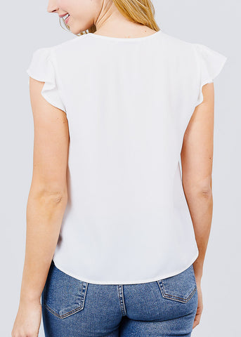Ruffle Sleeve V-Neck White Blouse
