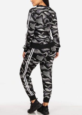 Activewear Print Long Sleeve Jacket And High Rise Drawstring Joggers (2PCE SET)