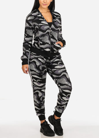 Image of Activewear Print Long Sleeve Jacket And High Rise Drawstring Joggers (2PCE SET)