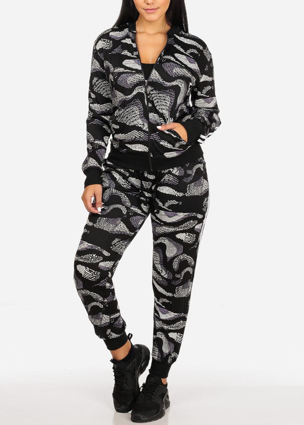 Activewear Print Jacket And High Rise Drawstring Joggers (2PCE SET)