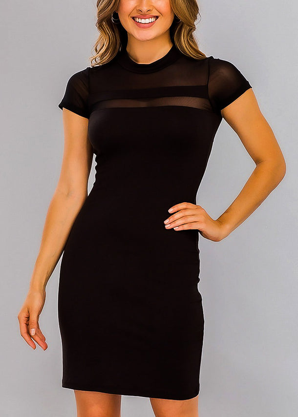 Black Bodycon Mesh Detail Dress
