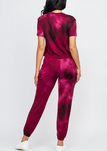 Image of Tie Dye Burgundy Top & Joggers (2 PCE SET)