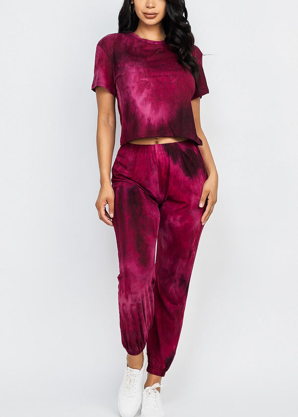 Tie Dye Burgundy Top & Joggers (2 PCE SET)