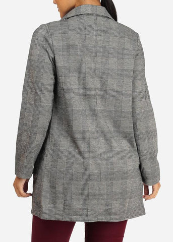 Image of Open Front Houndstooth Blazer