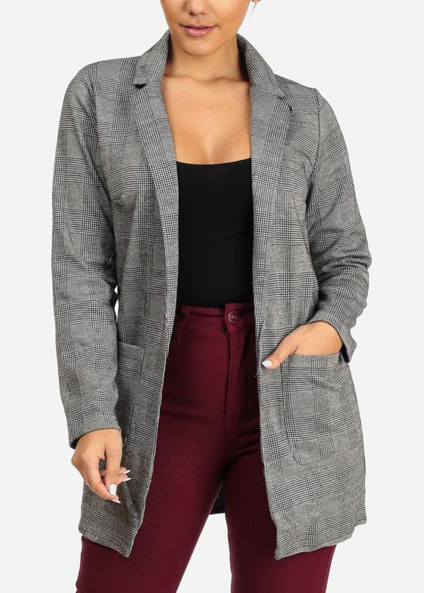 Cheap Houndstooth Blazer