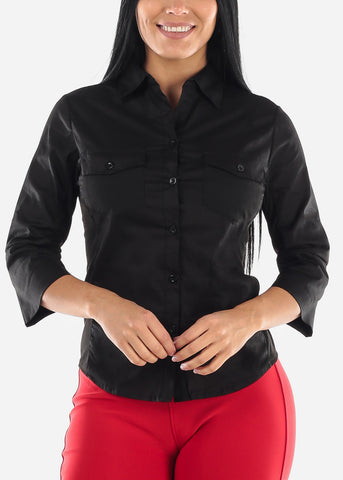 3/4 Sleeve Button Up Black Shirt