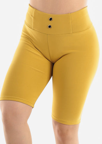 Image of Mustard Slip On Shorts