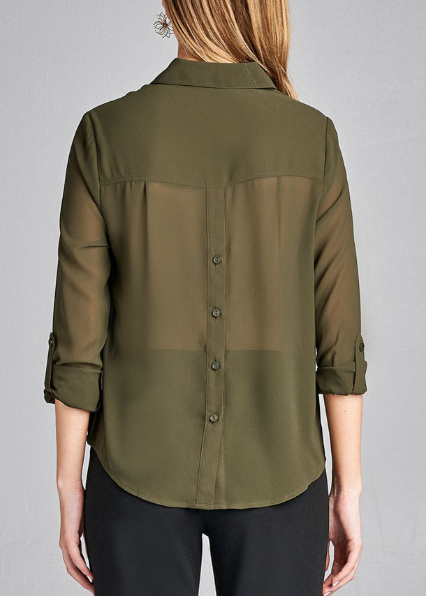 Olive Button Up Blouse Top