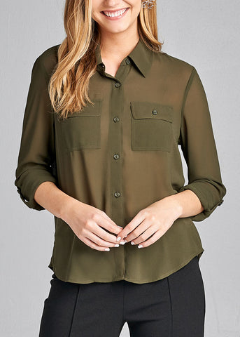 Office Business Wear 3/4 Sleeve Button Up Olive Blouse Top