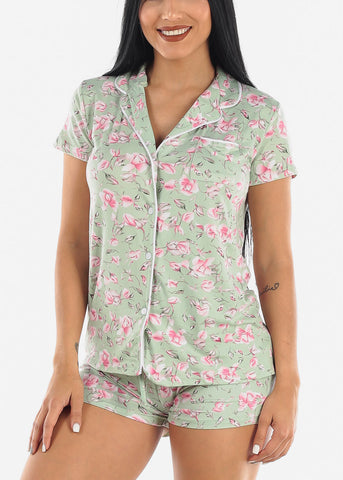 Mint Rose Top & Shorts PJ Set