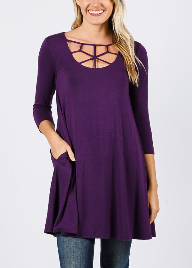 Web Neckline Dark Purple Tunic Top