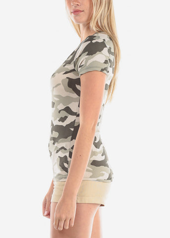 Image of Women's Junior Ladies Cute Camouflage Army Girl Short Sleeve Keyhole Neckline Super Cute Print Top