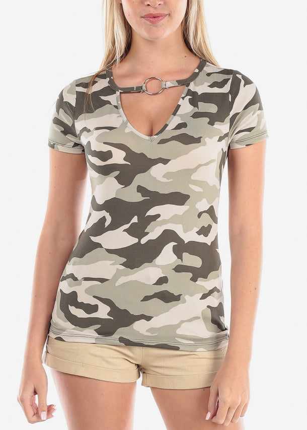 Women's Junior Ladies Cute Camouflage Army Girl Short Sleeve Keyhole Neckline Super Cute Print Top