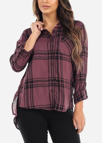 Purple & Navy Plaid Button Down Shirt