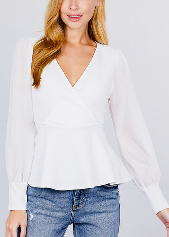 Image of Mesh Insert White Peplum Top
