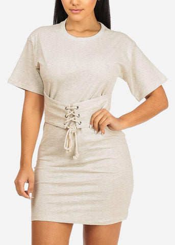 Image of Affordable Oatmeal Lace Up Belt Dress