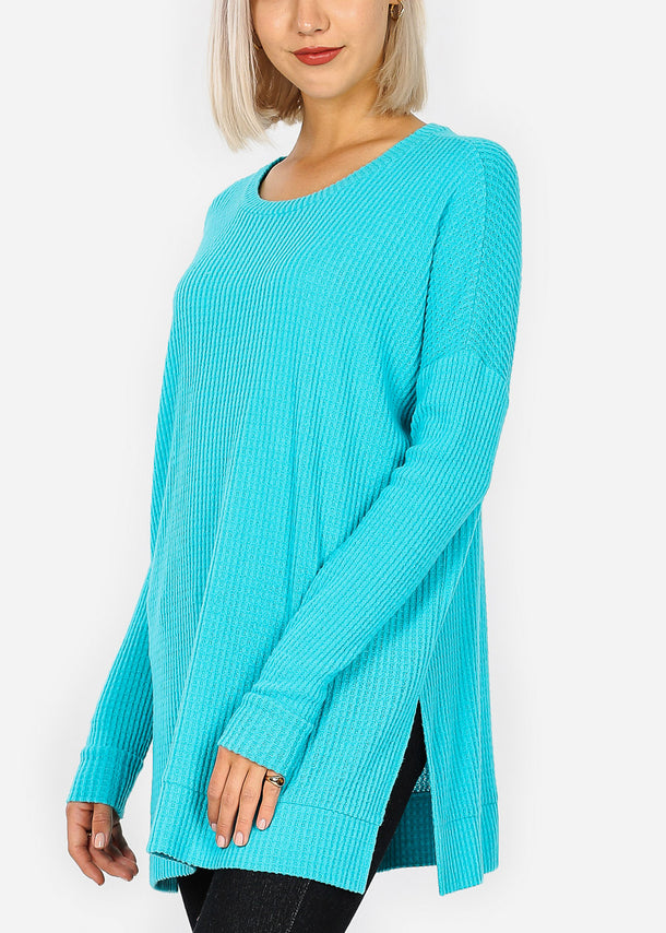 Mint Bushed thermal Waffle Sweater