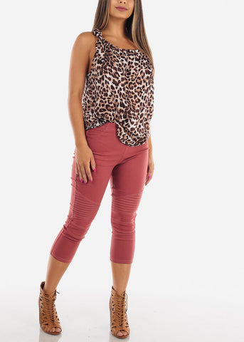 Image of Women's Junior Ladies Sexy Lightweight Brown Animal Print Top For Women Ladies Junior On Sale