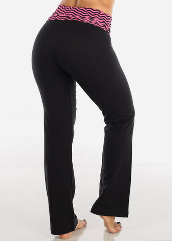 Pink Zig Zag Black Yoga Pants