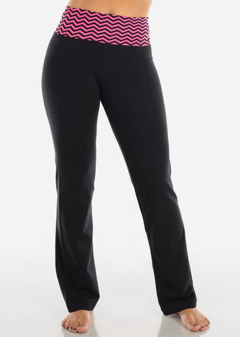 Image of Pink Zig Zag Black Yoga Pants