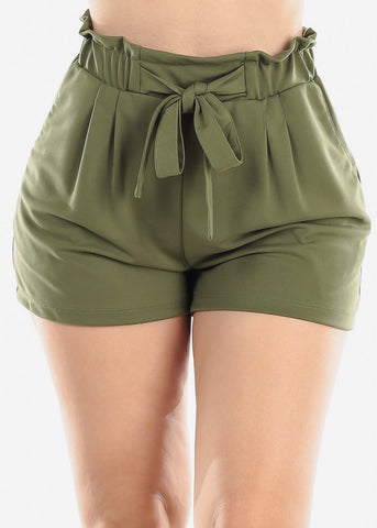 Image of High Rise Paperbag Olive Shorts