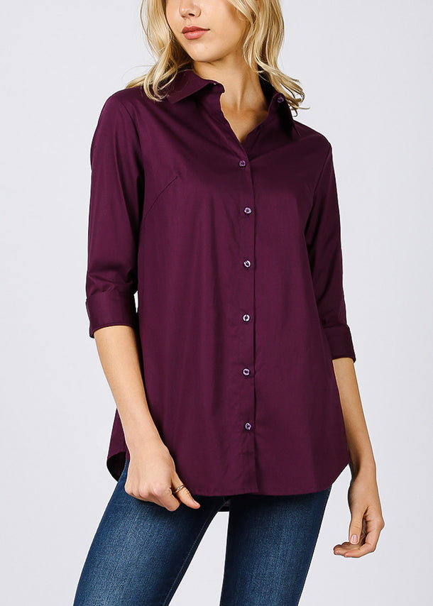 Cotton Button Up Dark Plum Shirt
