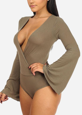 Olive Angel Sleeve Dressy Bodysuit