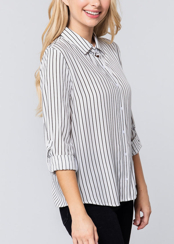 White & Black Stripe Button Down Shirt