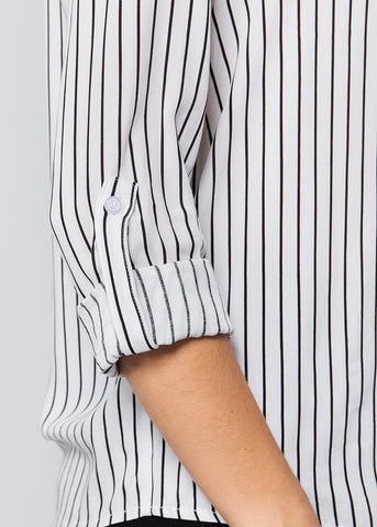 Image of White & Black Stripe Button Down Shirt