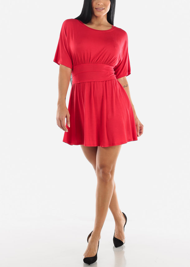 Elastic Round Neck Mini Dress