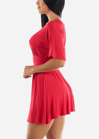 Image of Elastic Round Neck Mini Dress